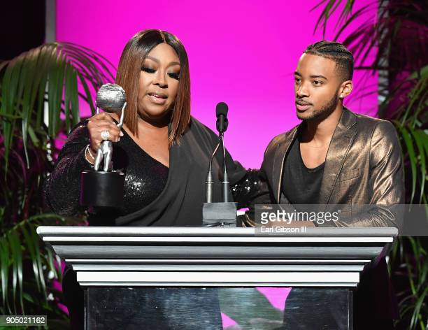 Algee Smith accepts award for Outstanding Motion PictureIndependent award on behalf of Detroit from Loni Love at the 49th NAACP Image Awards...