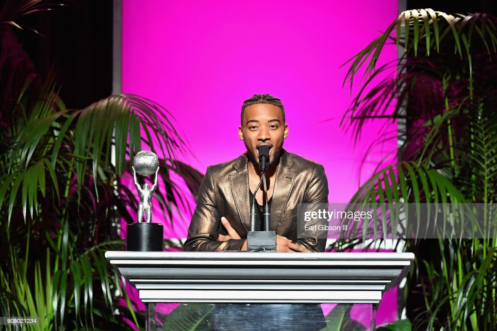 Algee Smith (R) accepts award for Outstanding Motion Picture-Independent award on behalf of Detroit at the 49th NAACP Image Awards Non-Televised Awards Dinner at the Pasadena Conference Center on January 14, 2018 in Pasadena, California.