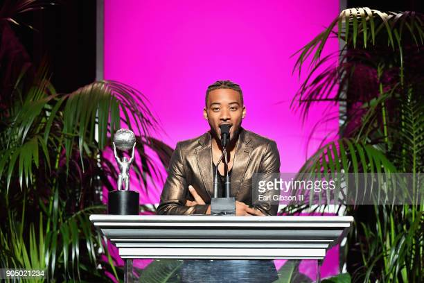 Algee Smith accepts award for Outstanding Motion PictureIndependent award on behalf of Detroit at the 49th NAACP Image Awards NonTelevised Awards...