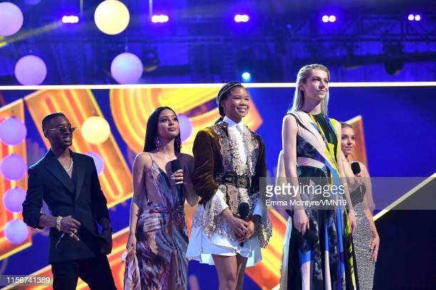 Algee Smith Alexa Demie Storm Reid and Hunter Schafer speak onstage during the 2019 MTV Movie and TV Awards at Barker Hangar on June 15 2019 in Santa...