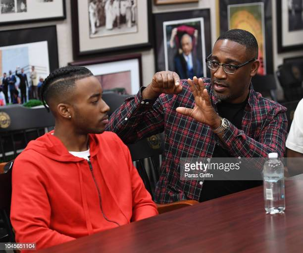 Algee Smith and George Tillman Jr interview with student journalists at 'The Hate U Give' Atlanta University Center press junket at Morehouse College...