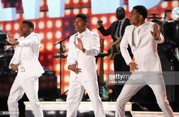 Algee Smith Bryshere Y Gray and Keith Powers of the adult cast of 'The New Ediiton Story' perform onstage at 2017 BET Awards at Microsoft Theater on...