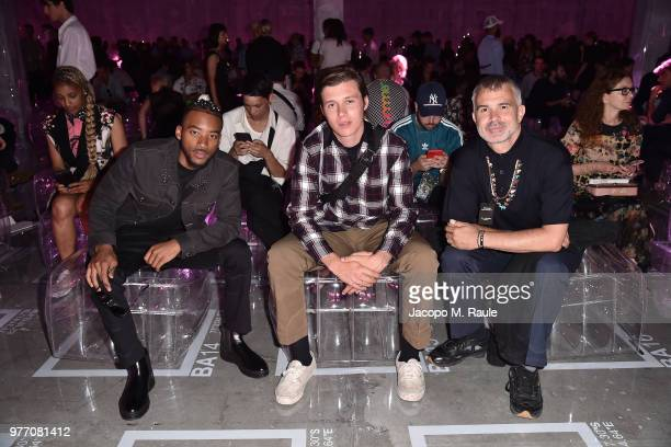 Algee Smith Nick Robinson and Willy Vanderperre attend Prada Men's Spring/Summer 2019 Fashion Show on June 17 2018 in Milan Italy