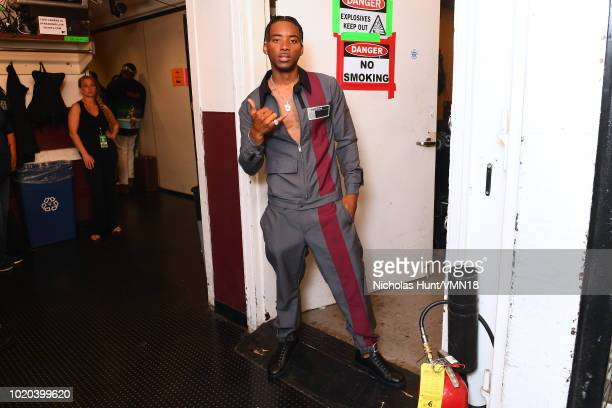 Algee Smith poses backstge during the 2018 MTV Video Music Awards at Radio City Music Hall on August 20 2018 in New York City