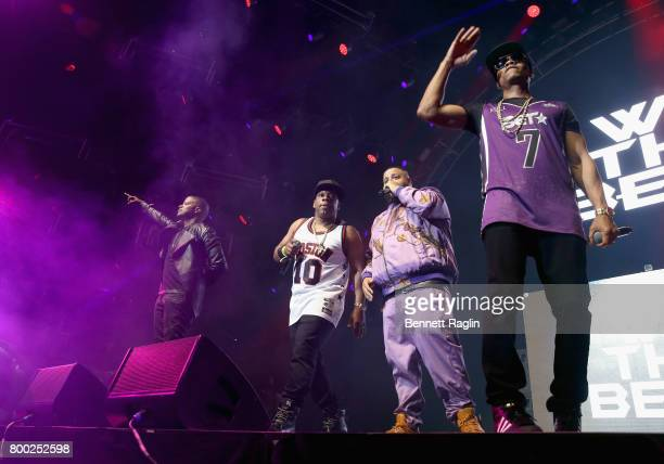 Algee Smith Ricky Bell of Bell Biv Devoe DJ Khaled and Ronnie DeVoe of Bell Biv Devoe perform onstage at night two of the STAPLES Center Concert...