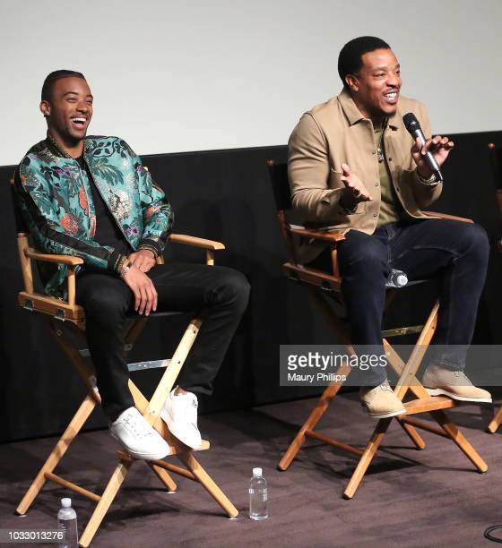 Algee Smith Russell Hornsby attend the screening of George Tillman's 'The Hate U Give' presented by ICON MANN and Vibe Magazine at The London on...
