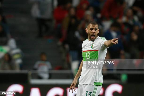 Algelia's forward Islam Slimani reacts during the FIFA World Cup Russia 2018 preparation match between Portugal vs Algeria in Lisbon on June 7 2018