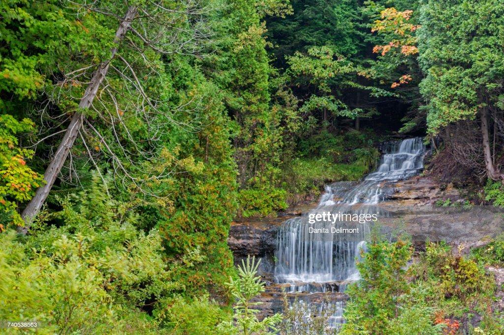 Alger Falls in autumn, Munising, Upper Peninsula, Michigan, USA : Stock Photo