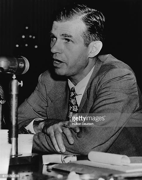 Alger Hiss an American state department official takes the stand to deny the accusation of Whittaker Chambers Hiss was twice charged with perjury...