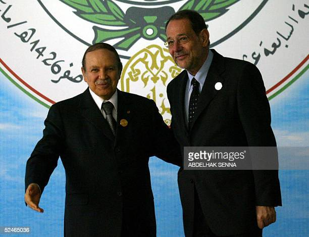 Algerian President Abdelaziz Bouteflika receives European Union's foreign policy chief Javier Solana prior to the opening session of the 17th Arab...