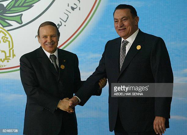 Algerian President Abdelaziz Bouteflika receives his Egyptian counterpart Hosni Mubarak prior to the opening session of the 17th Arab Summit in...
