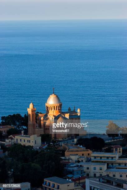 algeria, algier, view to notre dame d'afrique - algiers algeria stock pictures, royalty-free photos & images
