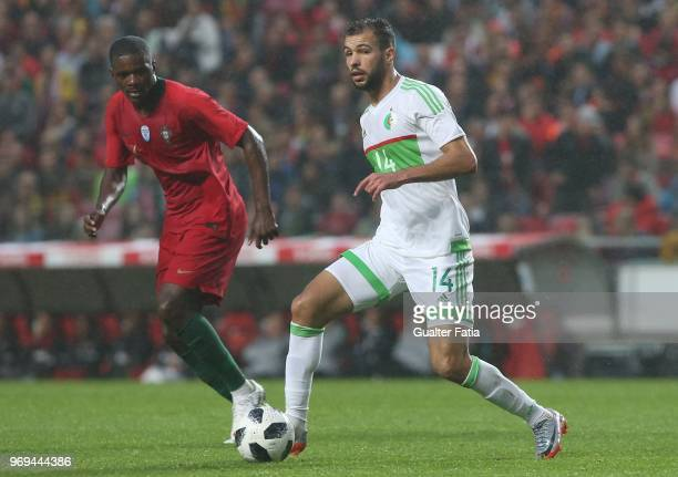 Algeria and JS Kabylie midfielder Salim Boukhenchouche in action during the International Friendly match between Portugal and Algeria at Estadio da...