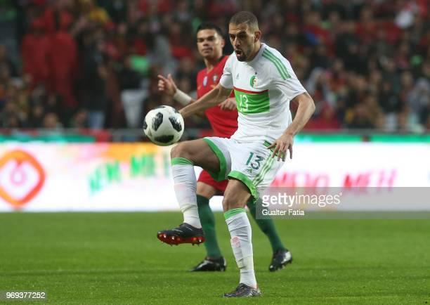 Algeria and Newcastle United forward Islam Slimani in action during the International Friendly match between Portugal and Algeria at Estadio da Luz...