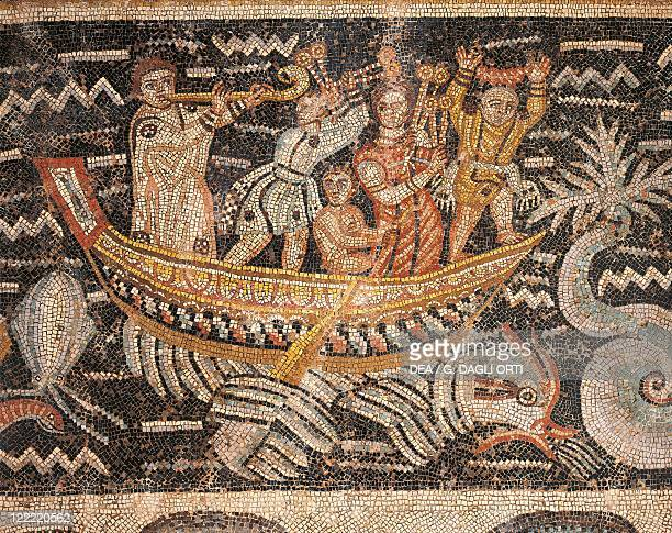 Algeria Djemila Detail of boat and musicians in mosaic work depicting Venus at her toilet