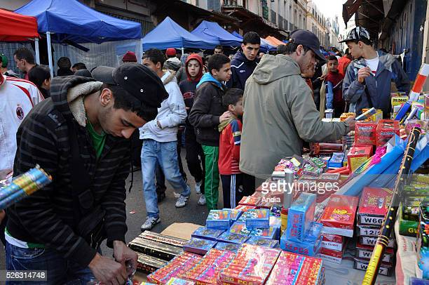firecrackers for sale on a market stall in Bab elOued before the celebration of Mawlid Ennabaoui Echarif the Blessed Birth of the Prophet Muhammad
