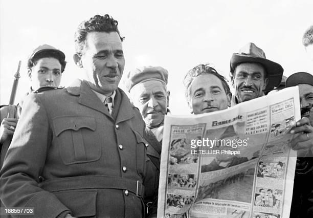 General Bellounis Joined The French Army Guerre d'Algérie DarChioukh décembre 1957 le général BELLOUNIS entouré de ses hommes tenant un exemplaire du...