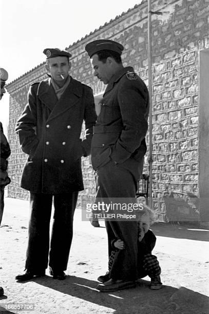 General Bellounis Joined The French Army Guerre d'Algérie DarChioukh décembre 1957 devant son PC le général BELLOUNIS son fils entre les jambes...
