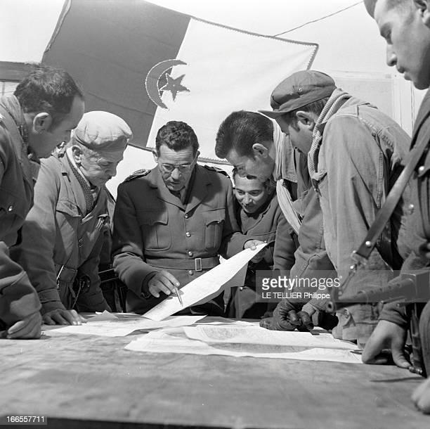 General Bellounis Joined The French Army Guerre d'Algérie DarChioukh décembre 1957 dans son PC orné du drapeau nationaliste algérien le général...