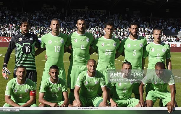 Algeria national football team players Algeria's goalkeeper Mohamed Lamine Zemmamouche Algeria's forward Islam Slimani Algeria's defender Essaïd...