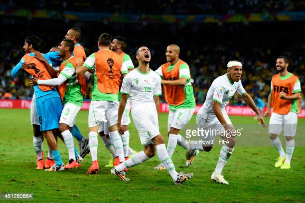 Algeria player celebrate their team's first goal scored by Islam Slimani during the 2014 FIFA World Cup Brazil Group H match between Algeria and...
