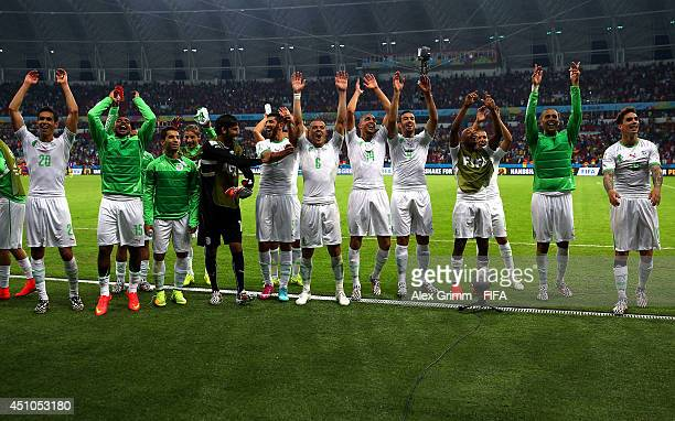 Algeria players celebrate the 42 win after the 2014 FIFA World Cup Brazil Group H match between Korea Republic and Algeria at Estadio BeiraRio on...