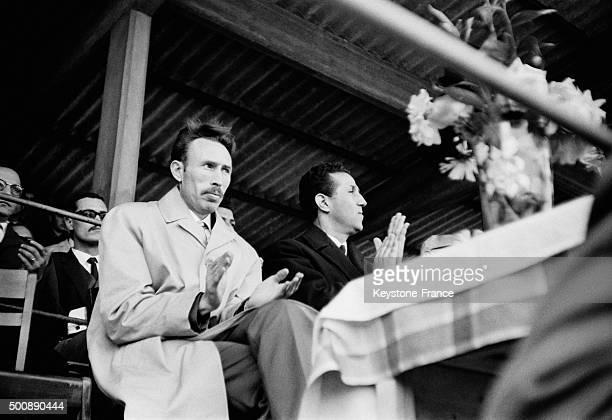 Algeria President Ahmed Ben Bella's visit in Constantine with colonel Houari Boumédiène on November 11 1963 in Constantine Algeria