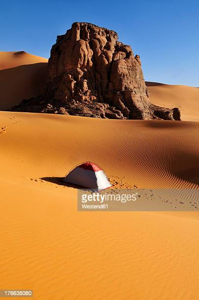 algeria, rock and dune landscape in moul naga at tassili n ajjer national park - algeria stock pictures, royalty-free photos & images