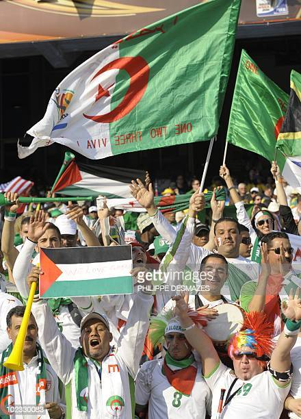 Algeria supporters cheer during the Group C first round 2010 World Cup football match US versus Algeria on June 23 2010 at Loftus Verfeld stadium in...
