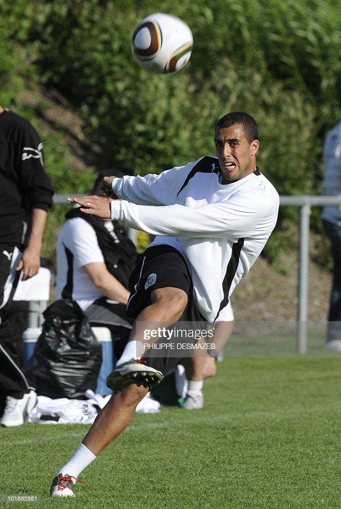 Algeria team's Yazid Mansouri kicks the ball during a practice session on May 25, 2010 in the Swiss Alpine resort of Crans-Montana ahead of the FIFA World Cup 2010 finals in South Africa.