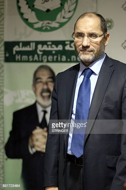 Algerian Abderrazak Mokri leader of the Islamist party Movement for a Society of Peace poses for a picture at his office in the capital Algiers on...
