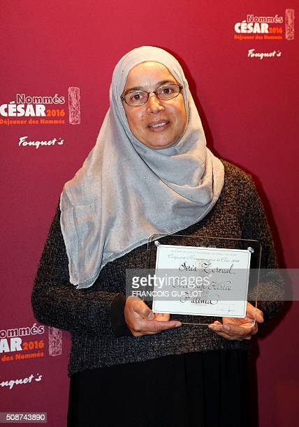Algerian actress Soria Zeroual poses with her nomination certificate for Best Actress during the nominations event for the 2016 César film awards on...