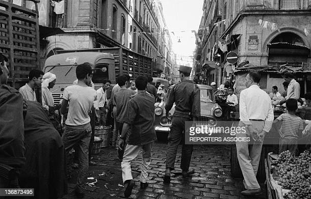 Algerian army in a street of Algiers two months after the Independence on September 5 1962 in Algiers Algeria