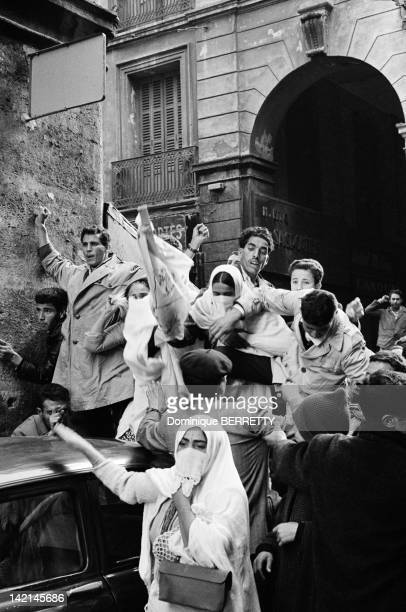 Algerian demonstration for the independence on April 28 1961 in Algiers Algeria