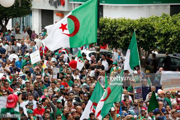 Algerian demonstrators shout slogans during an antigovernment demonstration in the capital Algiers on May 24 2019