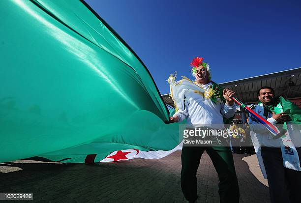 Algerian fans enjoy the atmosphere ahead of the 2010 FIFA World Cup South Africa Group C match between Algeria and Slovenia at the Peter Mokaba...