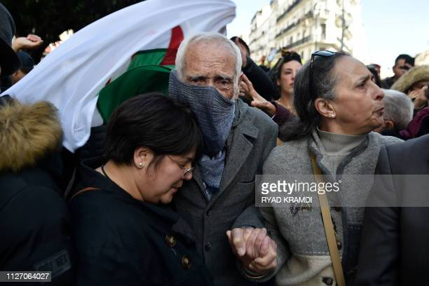 Algerian Film Director Moussa Haddad participates in a demonstration in the capital Algiers against the country's ailing president's bid for a fifth...