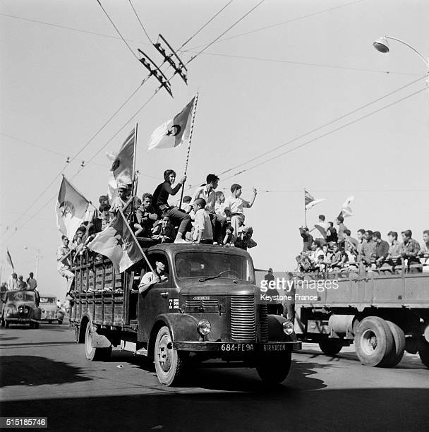 Algerian Flags In The Streets Of Algiers Four Days After The Proclamation Of Independence in Algiers Algeria on July 5 1962
