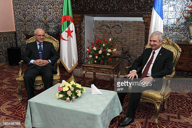 Algerian Foreign Affairs Minister Mourad Medelci meets with President of French National Assembly Claude Bartolone at the governmental palace in...