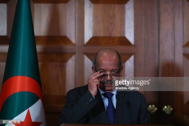 Algerian Foreign Minister Abdelkader Messahel and Turkish Foreign Minister Mevlut Cavusoglu hold a joint press conference following their meeting in...
