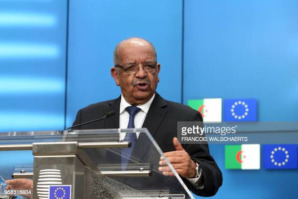Algerian Foreign Minister Abdelkader Messahel speaks during a press conference with High Representative of the European Union for Foreign Affairs and...