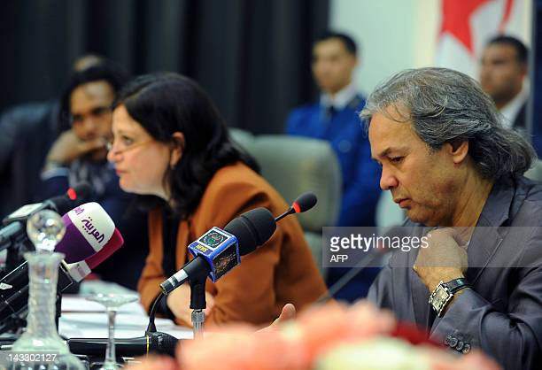 Algerian former football player and UNESCO Goodwill Ambassador Rabah Madjer and UNESCO representative Pilar AlvarezLaso give a press conference on...