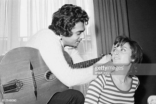 Algerian French Pied noir singer and songwriter Enrico Macias and his wife Suzy Leyris