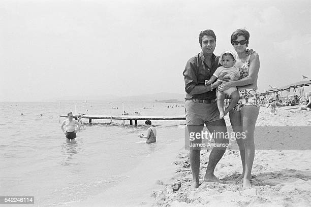 Algerian French singer and songwriter Enrico Macias with his wife Suzy Leyris and their son JeanClaude Ghrenassia