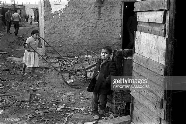 Algerian immigrants in one of the first slums during March 1962 in the Paris area in Nanterre France