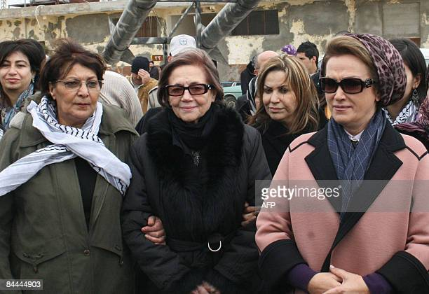 Algerian independence hero Djamila Bouhired the wife of Lebanon's Parliament Speaker Nabih Berri Randa and Leila Khaled the 1970 Popular Front for...