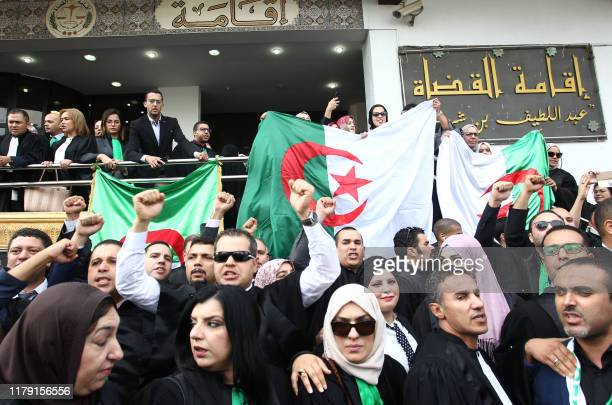 Algerian judges and prosecutors protest on October 31 2019 outside the supreme court during an openended strike to demand the independence of the...