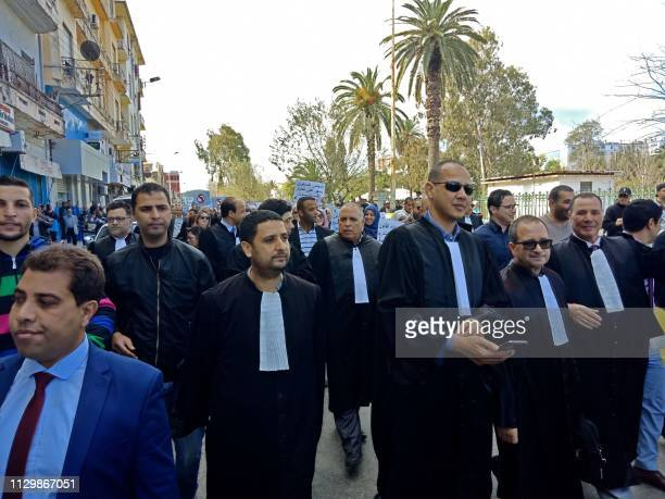 Algerian lawyers protest against their ailing president's bid for a fifth term in power in the northeastern city of Annaba on March 11 2019 The...