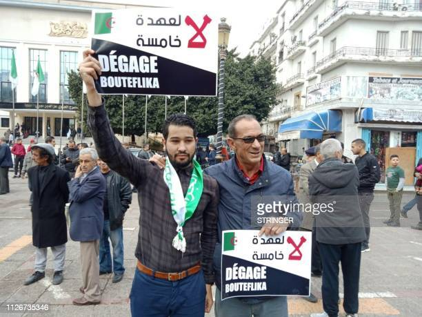 Algerian men stage a protest against Algeria's president candidacy for a fifth term on February 22 2019 in the coastal city of Annaba Abdelaziz...