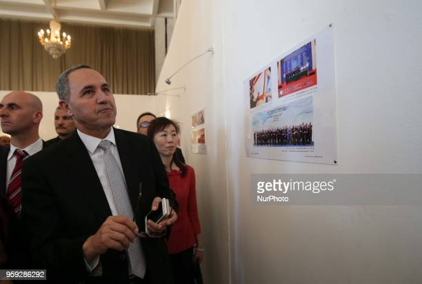Algerian Minister of Culture Azzedine Mihoubi visits a photo exhibition on the Belt and Road initiative in Algiers, Algeria, on May 15, 2018. The...